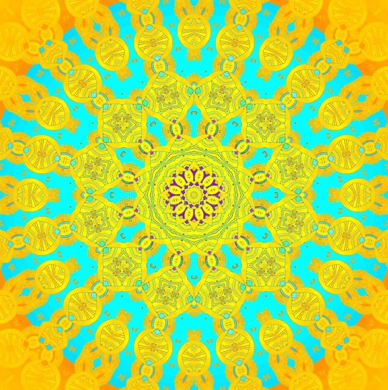 Синь бирюзы безшовного желтого цвета орнамента концентрического круга оранжевая иллюстрация вектора