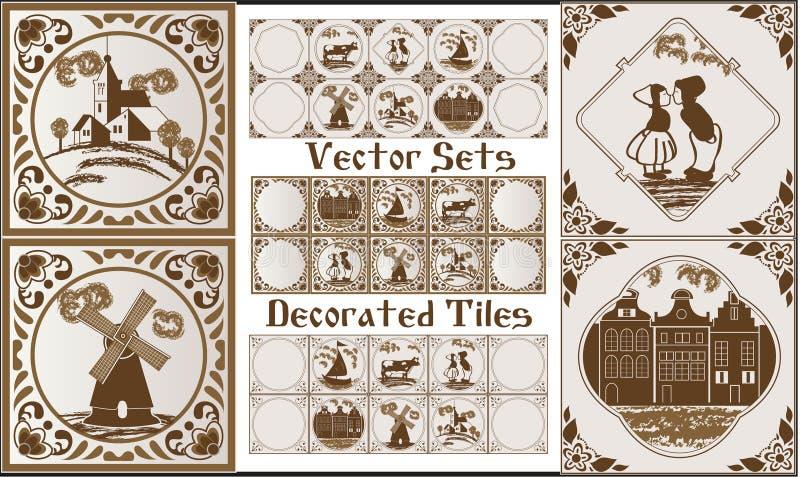 Синь Делфта Делфта в плитках коричневой темы голландских с фольклорными изображениями иллюстрация штока