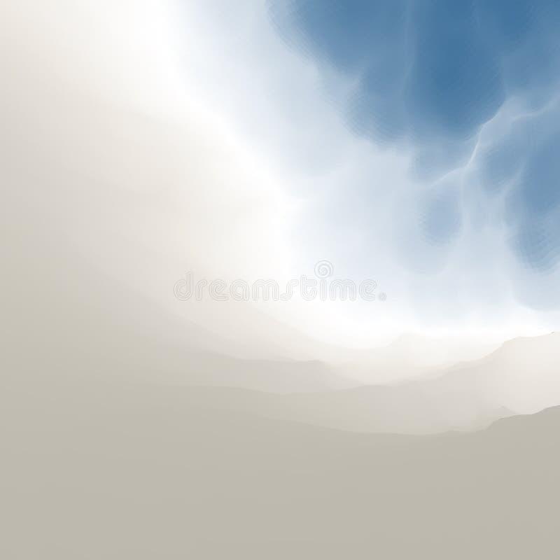 синь заволакивает небо Самомоднейшая картина против предпосылки голубые облака field wispy неба природы зеленого цвета травы бело иллюстрация вектора