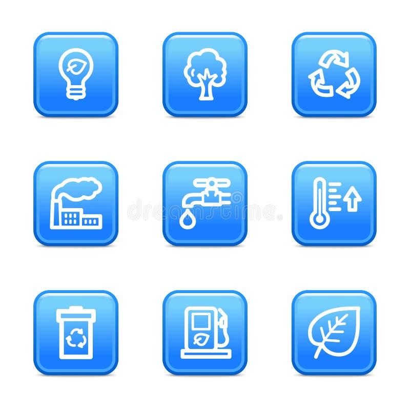 синь застегивает сеть икон экологичности иллюстрация вектора