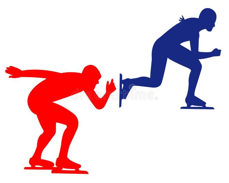 Синь и красный катаясь на коньках спорт иллюстрация вектора