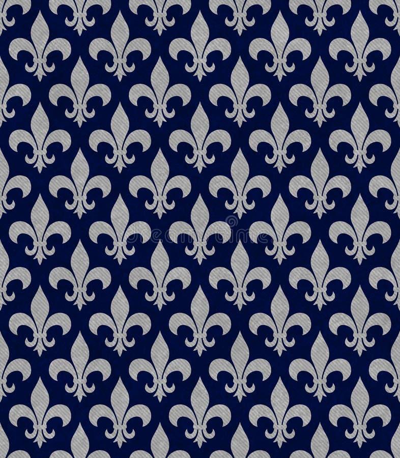Синь и ткань Сер Fleur De Lis Текстурировать предпосылка иллюстрация вектора
