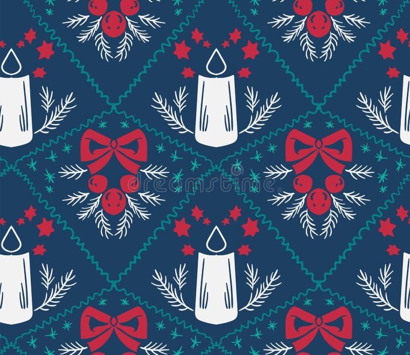 Синь картины штофа вектора свечи рождества безшовная бесплатная иллюстрация