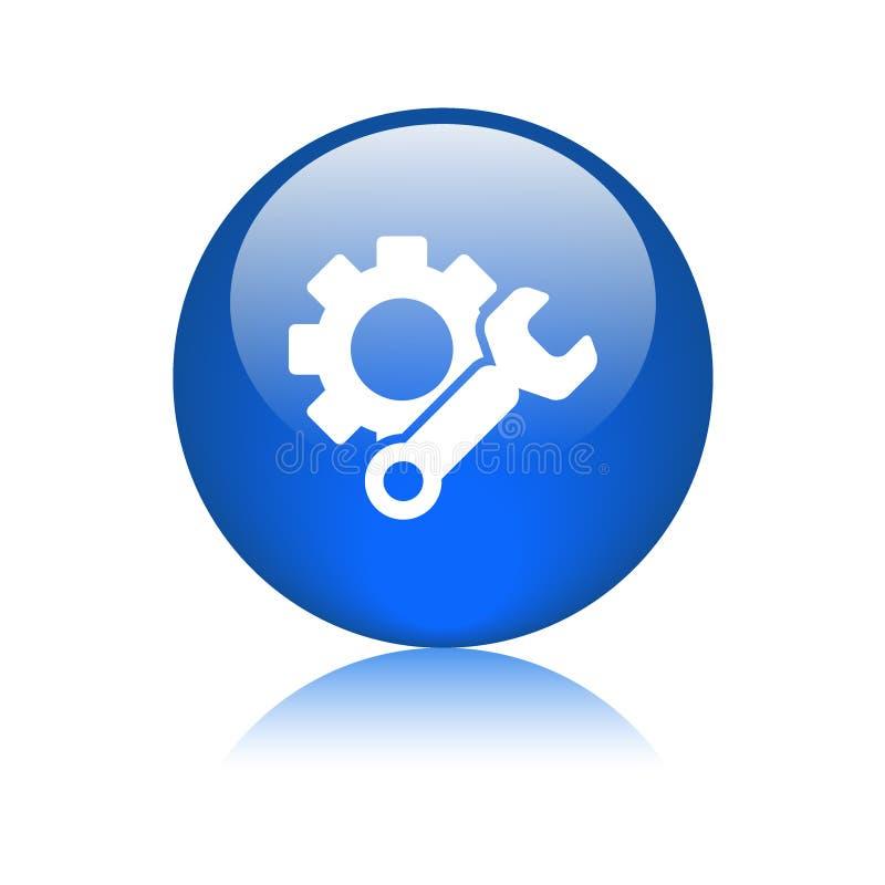 Синь кнопки сети значка установок бесплатная иллюстрация