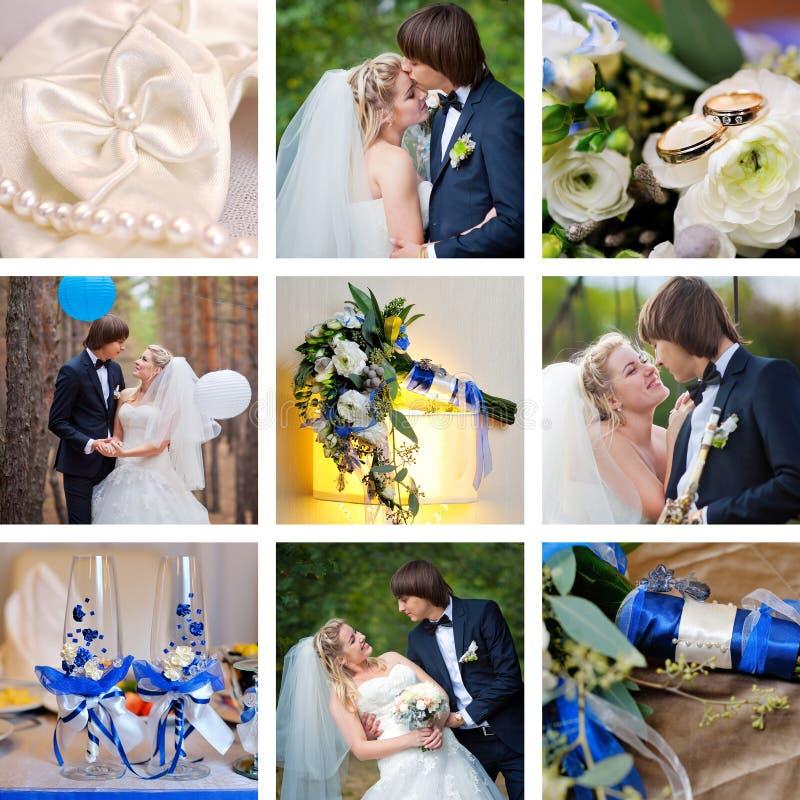 Синь коллажа свадьбы, стиль бирюзы стоковые изображения rf