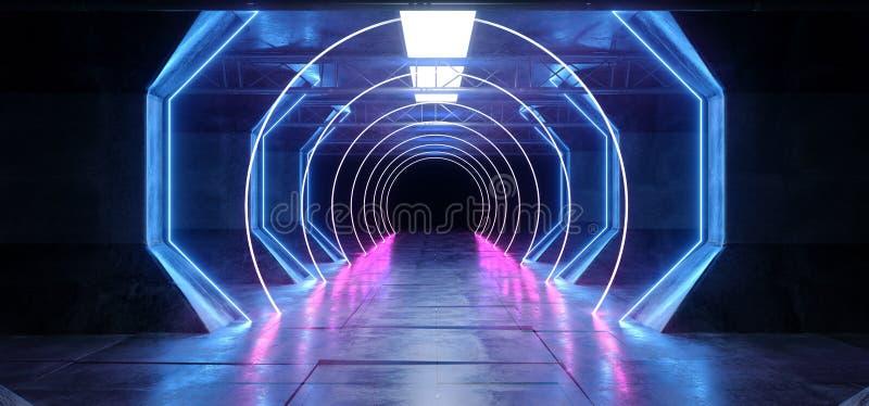 Синь лазера Glowoing коридора тоннеля космоса корабля чужеземца Sci Fi кибер виртуальной реальности футуристическая неоновая нака иллюстрация штока