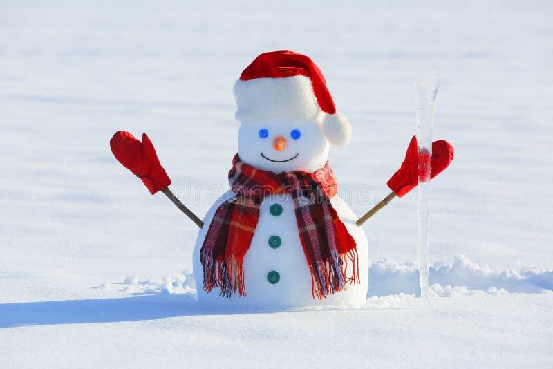 Синь наблюдала усмехаясь снеговик в красной шляпе, перчатках и шарф шотландки держит сосульку в руке Радостное холодное утро зимы стоковое изображение