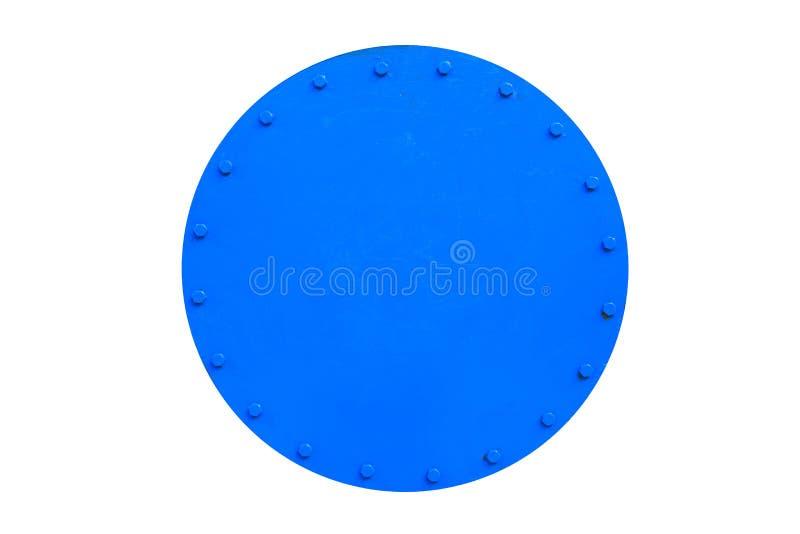 Синь покрасила круглый люк металла танка с гайками изолированными на белой предпосылке стоковая фотография rf