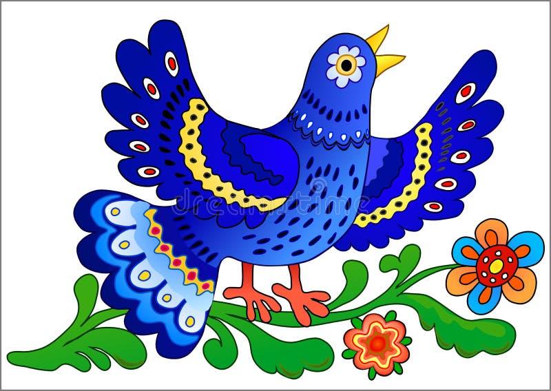 синь птицы пеет иллюстрация вектора