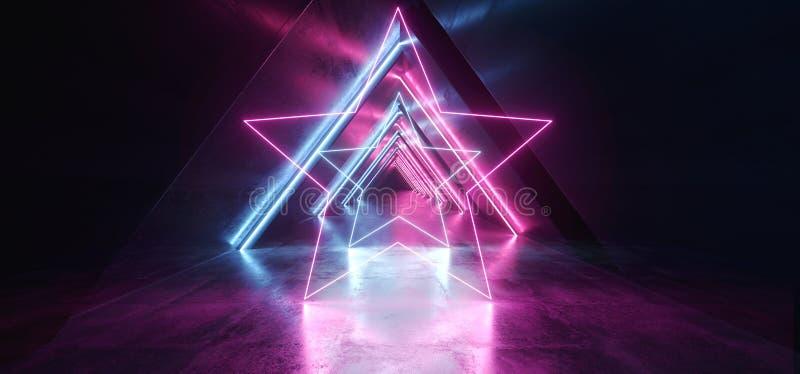 Синь пурпура Sci Fi треугольника неоновых свет накаляя сформировала коридор дневного ретро современного элегантного космического  бесплатная иллюстрация