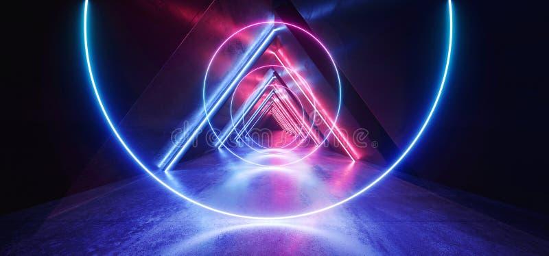 Синь пурпура Sci Fi треугольника неоновых свет накаляя сформировала коридор дневного ретро современного элегантного космического  иллюстрация штока