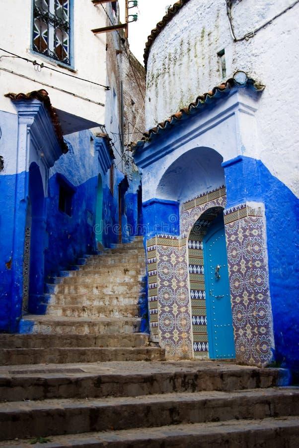 синь chefchaouen город стоковая фотография