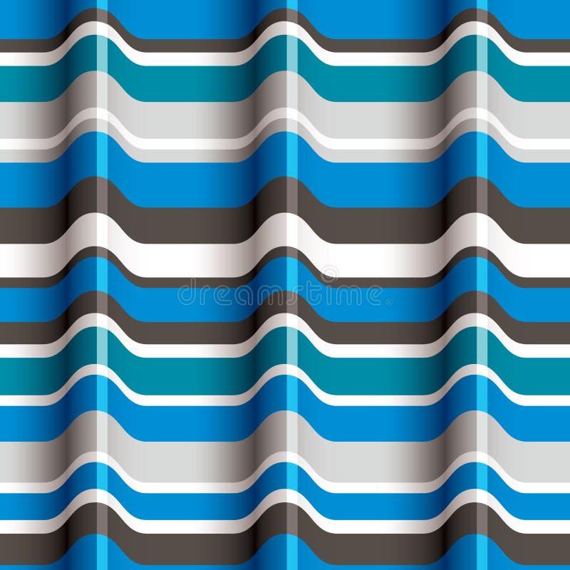 синь 3D развевает безшовная картина иллюстрация вектора