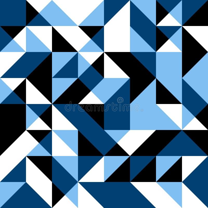 Синяя безшовная предпосылка с геометрическими формами иллюстрация вектора