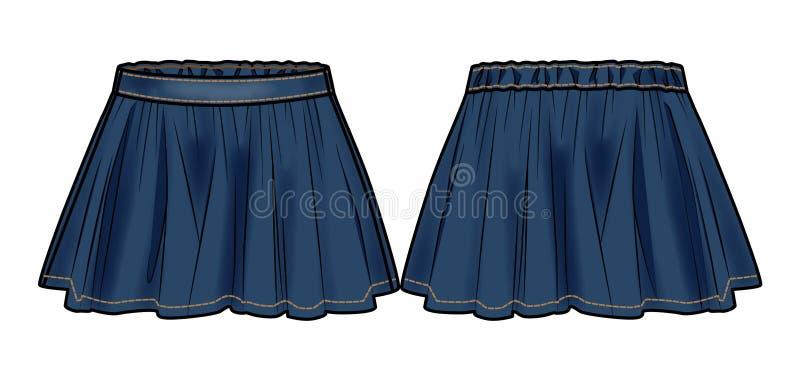 Синяя джинсовая ткань flared юбка иллюстрация вектора