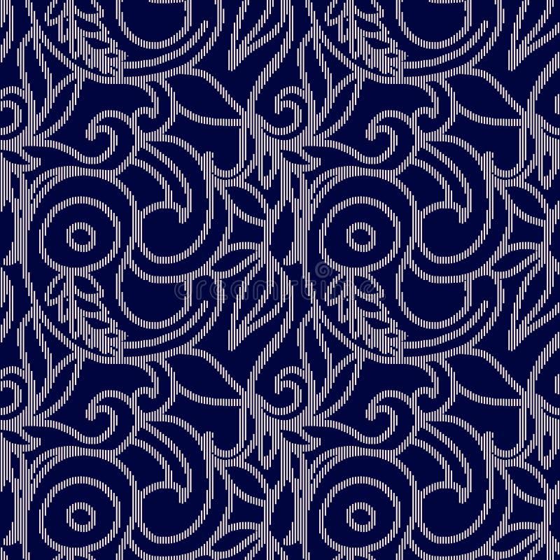 Синяя и белая безшовная картина с вышивкой иллюстрация вектора