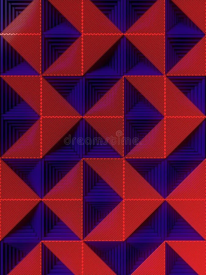 Синяя поверхность с картиной красных панелей перевод 3d иллюстрация штока