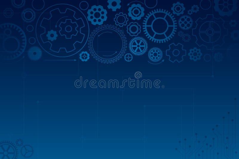 Синяя предпосылка с голубыми колесами шестерни cogwheels различные иллюстрация вектора