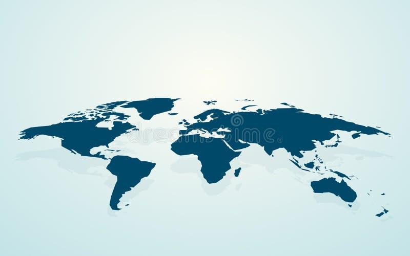 Синяя пустая карта мира fake3D иллюстрация вектора