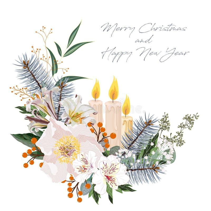 Синяя сосна, оранжевая ягода, свечи и цветочная композиция белых жемчужиновых лилий Подветвление дерева фира иллюстрация вектора