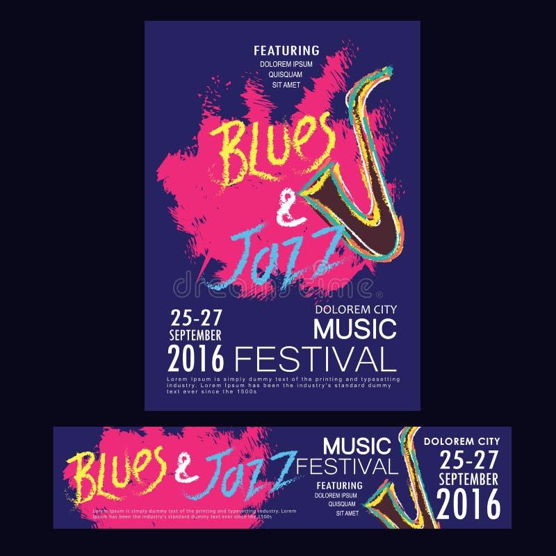 Син и шаблоны брошюры и знамени плаката джазового фестиваля иллюстрация вектора