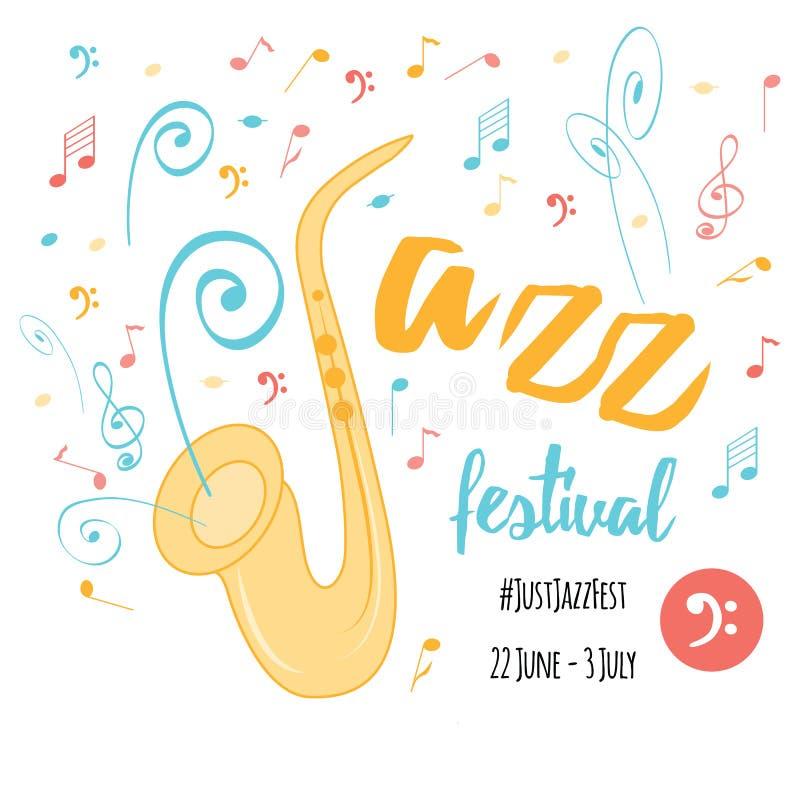 Син музыкальный фестиваль джаза, шаблон предпосылки плаката Карточка бесплатная иллюстрация