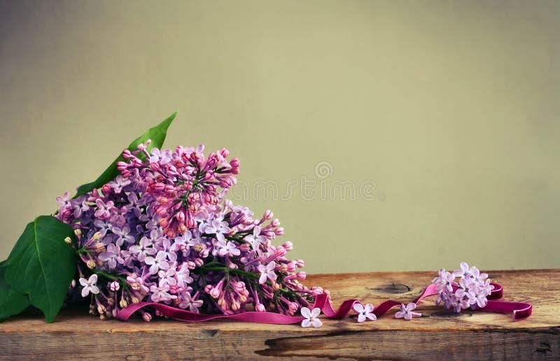 Сирень букета душистая фиолетовая, лента бархата стоковая фотография rf