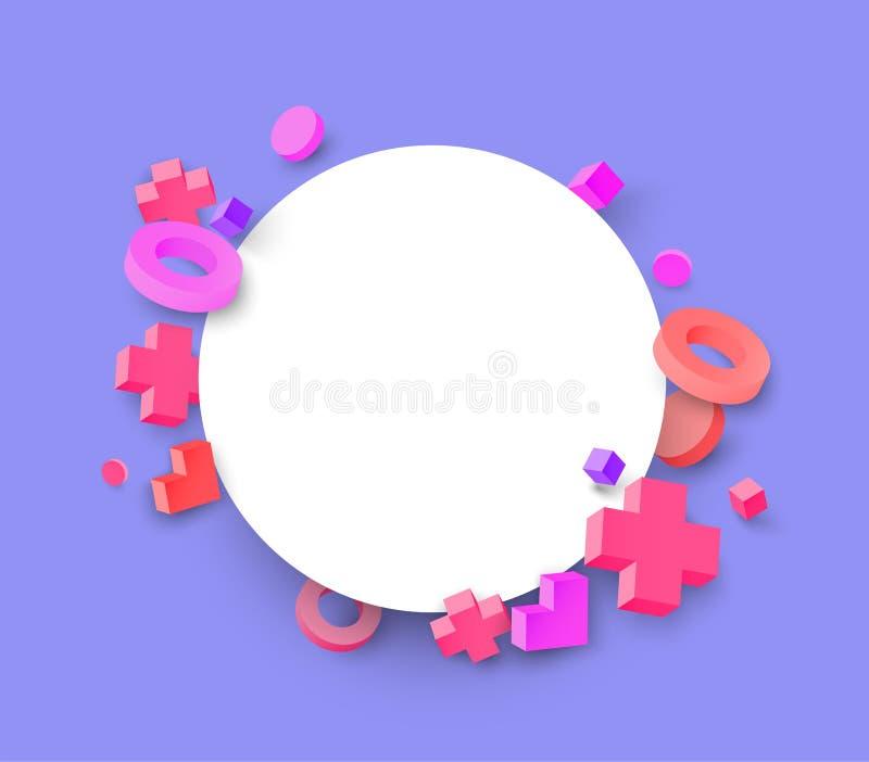 Сирень и белая круглая предпосылка с розовыми геометрическими диаграммами 3d иллюстрация вектора