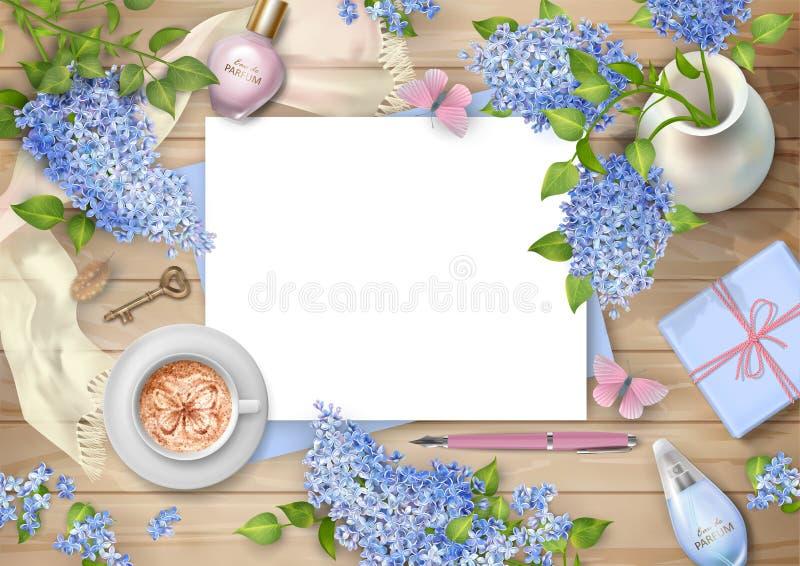 Сирень на деревянной предпосылке бесплатная иллюстрация