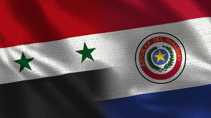 Сирия и Парагвай - 2 сигнализируйте совместно - текстура ткани стоковое изображение rf