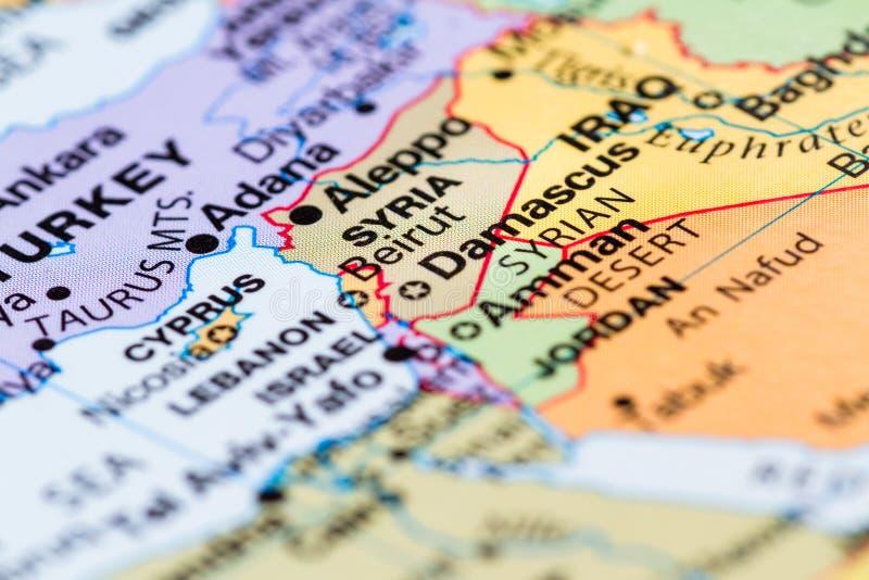 Сирия на карте стоковая фотография rf
