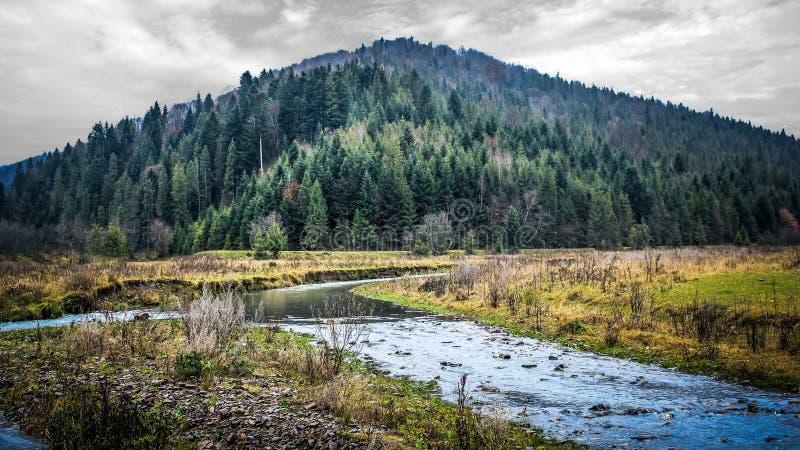 Сиротливая гора в пейзаже ландшафта природы стоковые изображения rf