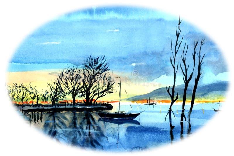 Сиротливая яхта на озере На заднем плане маленькие лодки с рыболовами и деревья в воде иллюстрация вектора