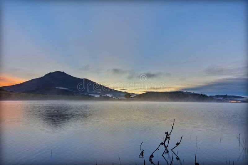 Сиротливое отражение дерева на озере на зоре Изображения используемые в дизайне, рекламе, перемещении, печатании стоковые фотографии rf
