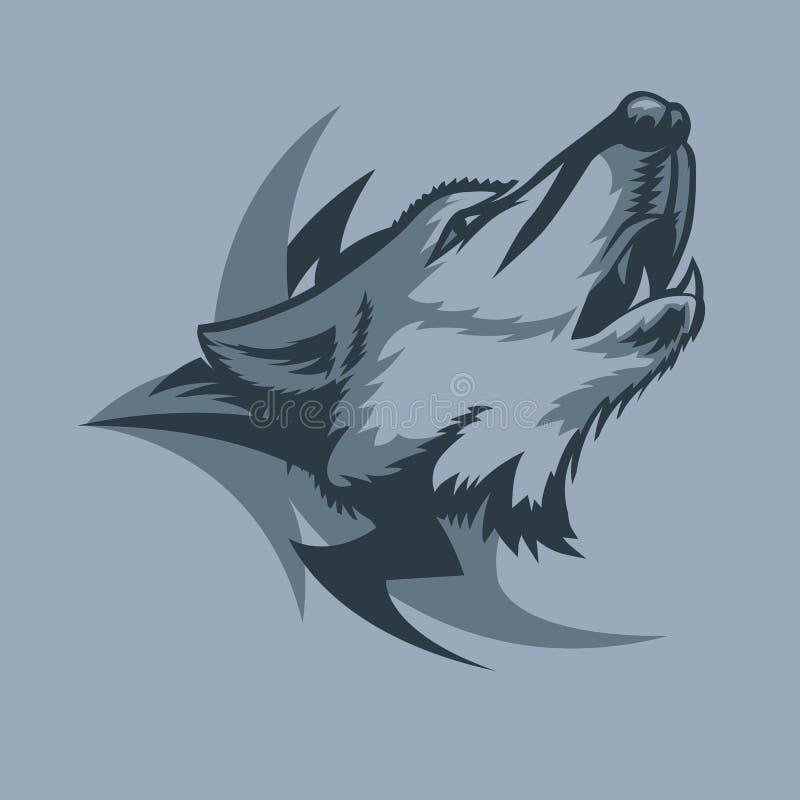 Сиротливый волк завывать и племенной знак за стилем татуировки иллюстрация вектора