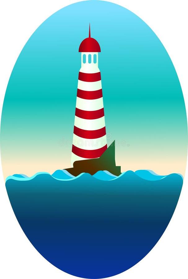 Сиротливый маяк на скале в утре бесплатная иллюстрация
