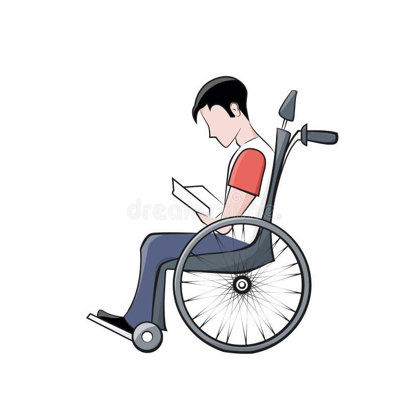 Сиротливый неработающий мальчик сидя в кресло-коляске и читая книгу Само-образование людей с инвалидностью шарж стоковые изображения
