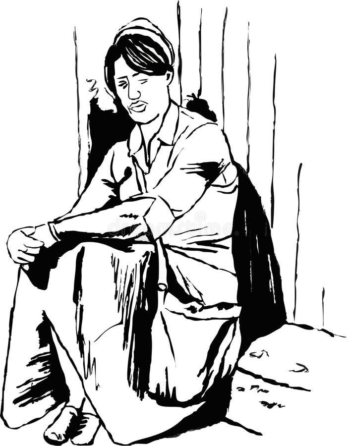 сиротливый студент иллюстрация вектора