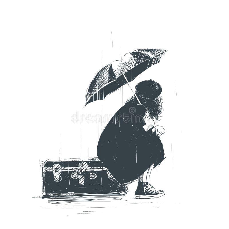 Сиротливая девушка сидит на багаже с зонтиком в ее руках во время дождя иллюстрация штока