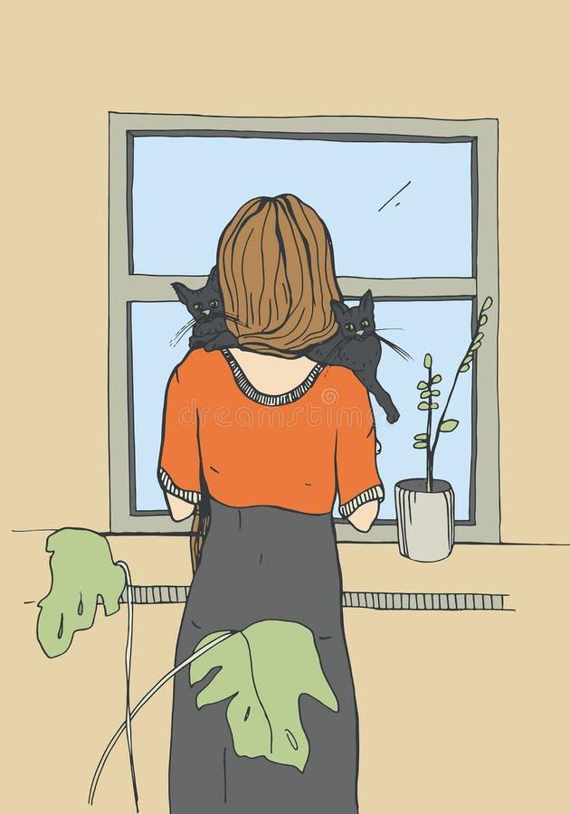 Сиротливая женщина около окна с котами Иллюстрация вектора нарисованная рукой иллюстрация вектора