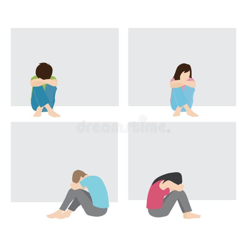 Сиротливые и унылые человек и женщина иллюстрация вектора