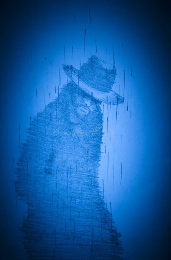 Сиротливый человек в шляпе и пальто иллюстрация вектора