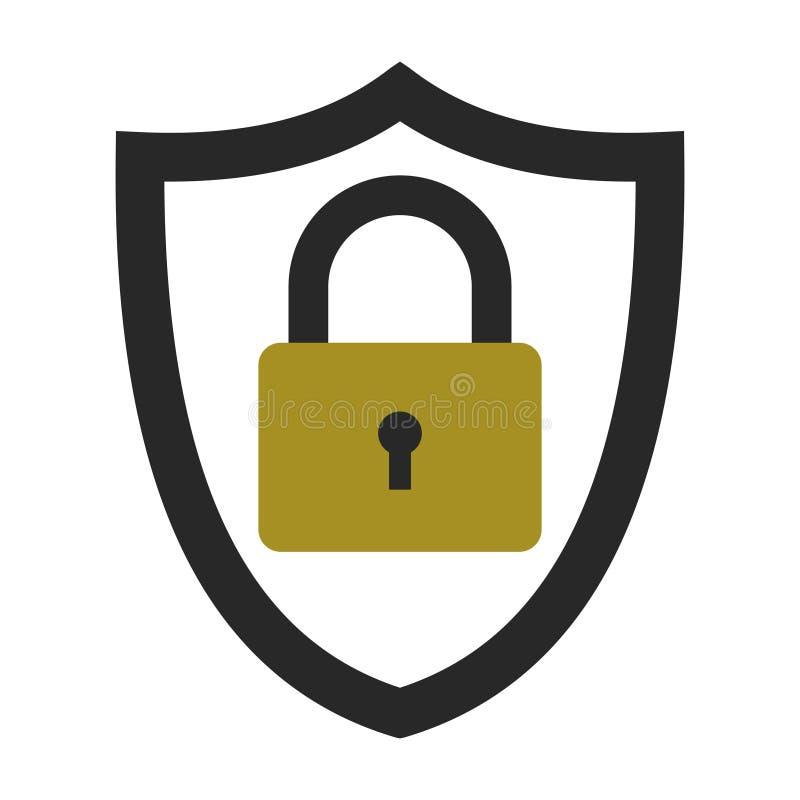 Система безопасности значка, уединение защиты данных информации, экран вектора с закрытым замком, личной концепцией защиты данных иллюстрация штока