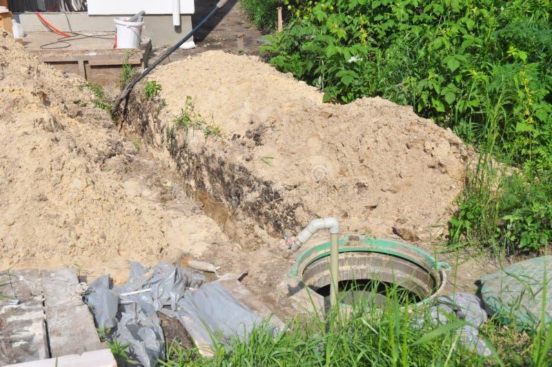 Система водоснабжения с канавой в земле Намочите скважину, гидравлический аккумулятор, водяную помпу стоковая фотография