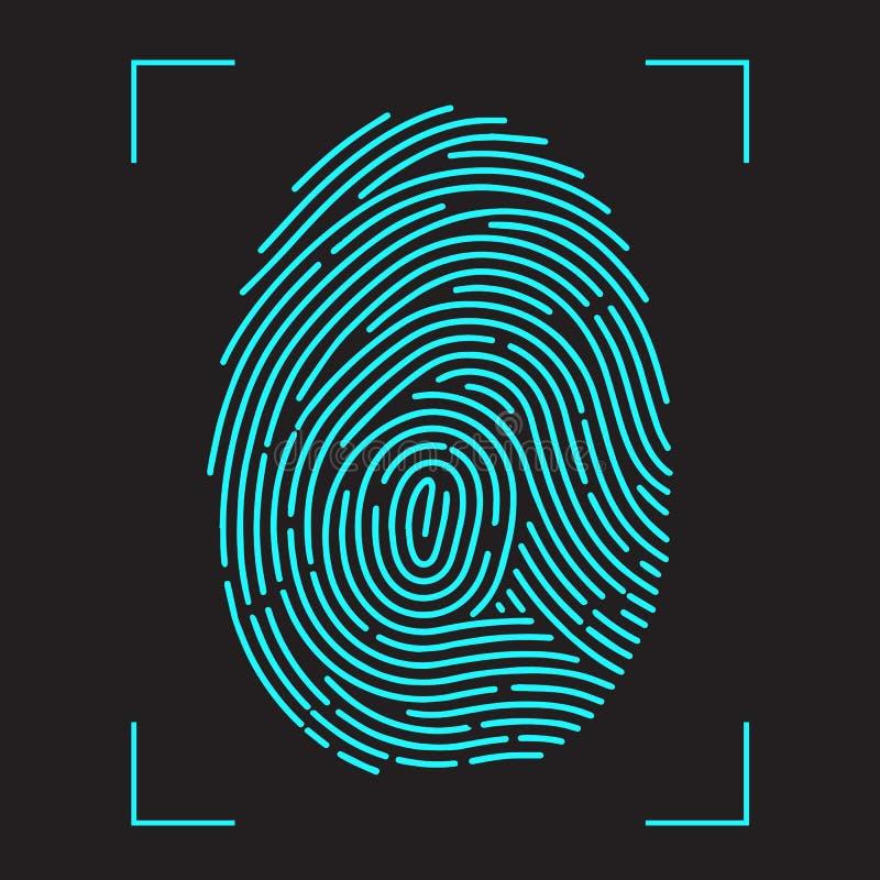 Система опознавания скеннирования отпечатка пальцев иллюстрация штока