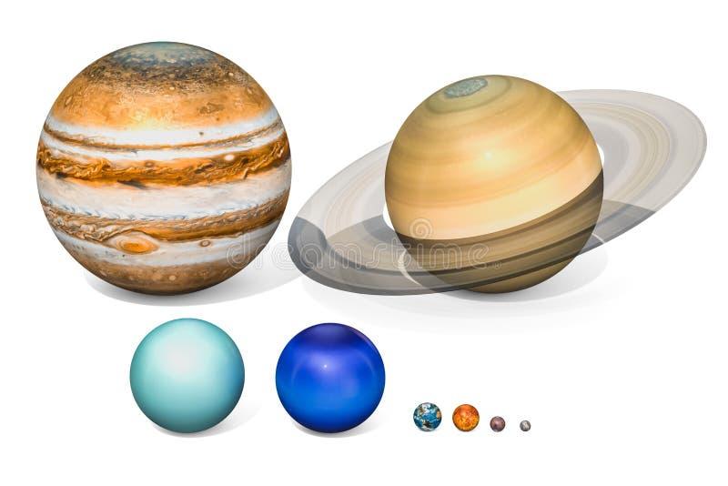 система планет солнечная Юпитер, Сатурн, Уран, Neptuno, e иллюстрация вектора
