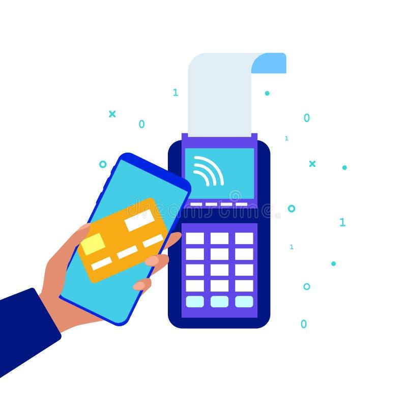 Система платежей телефона Оплачивать через терминал POS Безконтактный терминал оплаты Современная технология оплаты r иллюстрация вектора