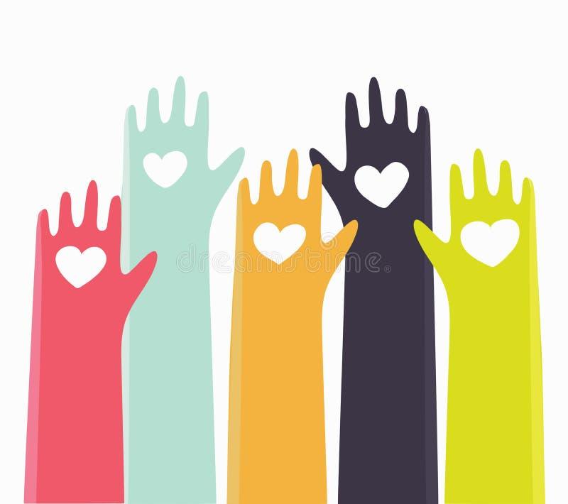 Система рейтинга сердец при руки устанавливая сердца для того чтобы полюбить концепция вектора бесплатная иллюстрация