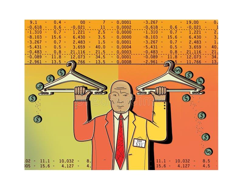 Система рычагов обменом Доля заемных средств Фондовая биржа вешалки одежд Человек в деловом костюме держит вешалку одежд с монетк иллюстрация вектора