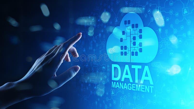Система управления данными, технология облака, интернет и концепция дела бесплатная иллюстрация
